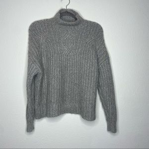 AERIE Gray Wool Blend Knit Sweater Mock Neck Small